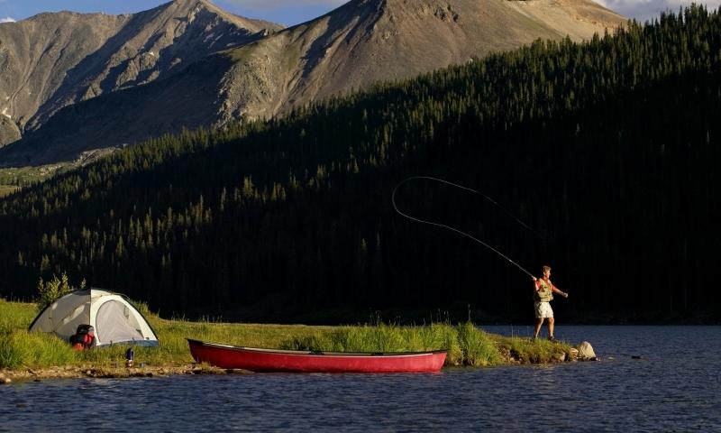 Canoe Canoeing Fishing Camping Lake