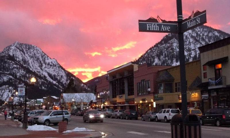 Main Street to the Rockies at Sunset