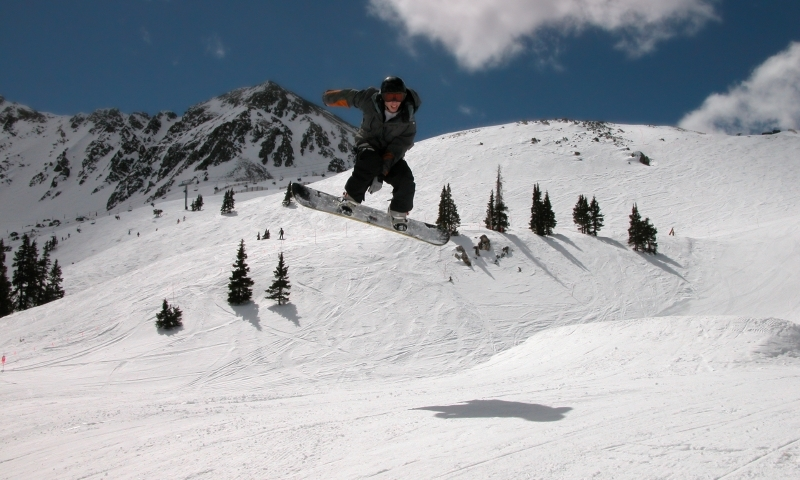 Snowboarder at Arapahoe Basin