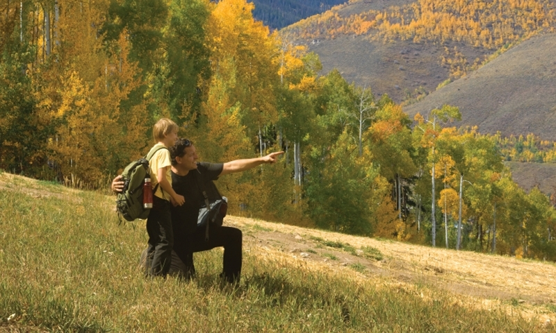 Family Kids Hiking Rocky Mountains Colorado Trail Aspens
